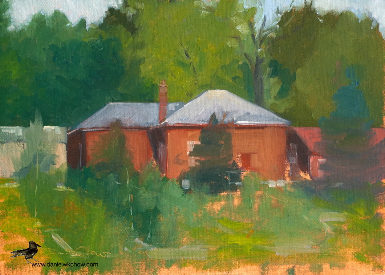 The old waterworks building and the community garden. Oil on linen, 10 by 14 inches.