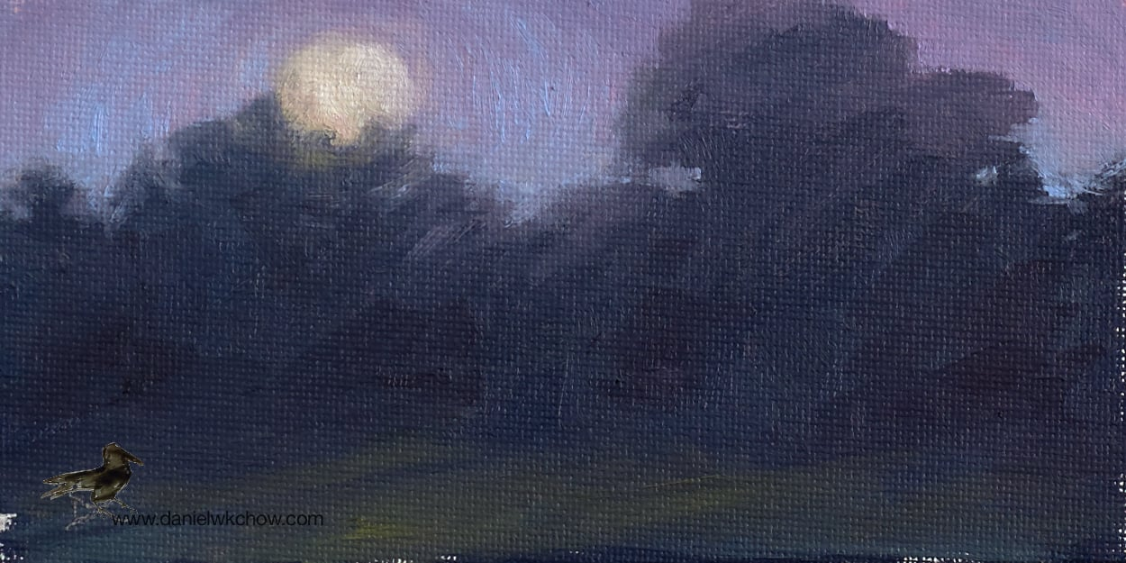 Early Moonrise. Sketch in oil, 3 by 6 inches.
