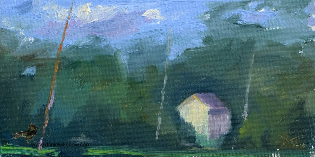 House under the Trees. Sketch in oil, 4 by 8 inches.