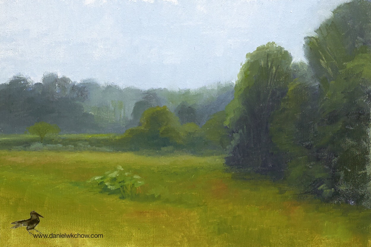 Morning Haze. Red Clay Creek, Kennett Square. Oil on linen over panel, 8 by 12 inches.