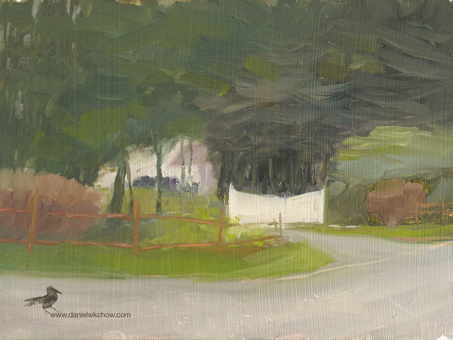 The White Gate. Greenville, Delaware. Oil on Panel, 6 by 8 inches. $225.