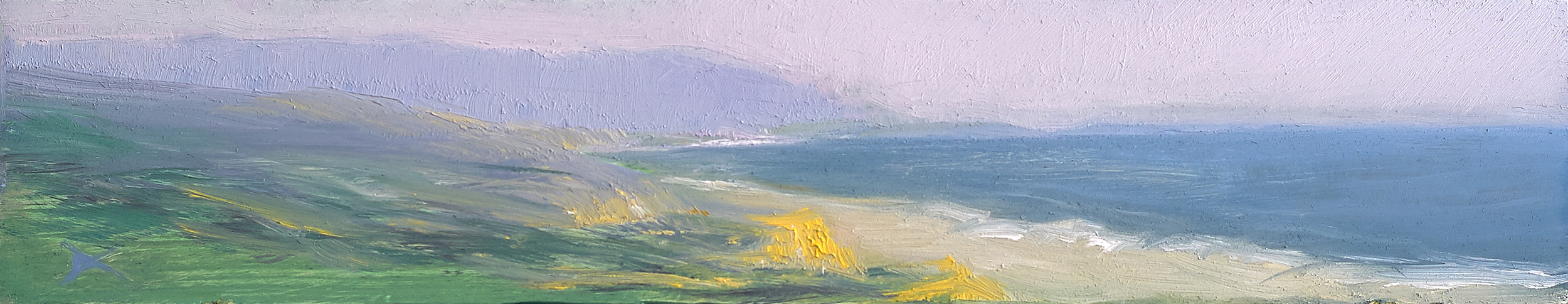 Point Reyes, California. Oil on cedar wood, 2 by 10 inches.