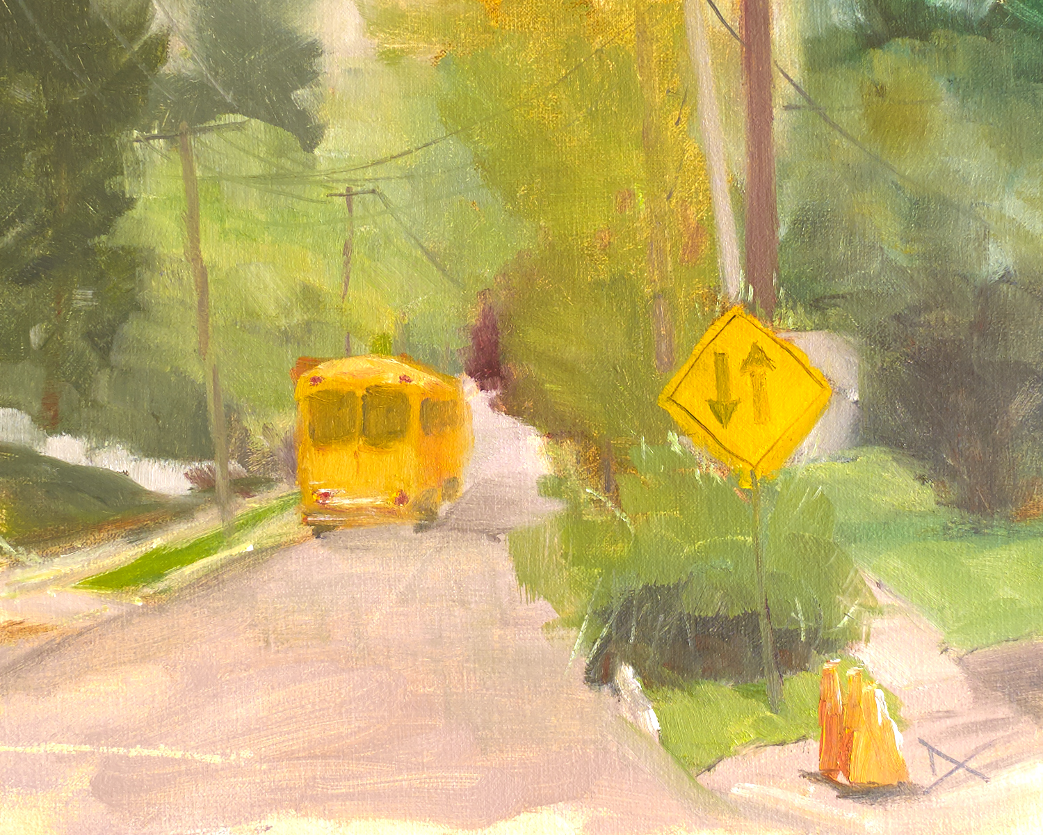 The School Bus, the two-way sign, and the three traffic cones