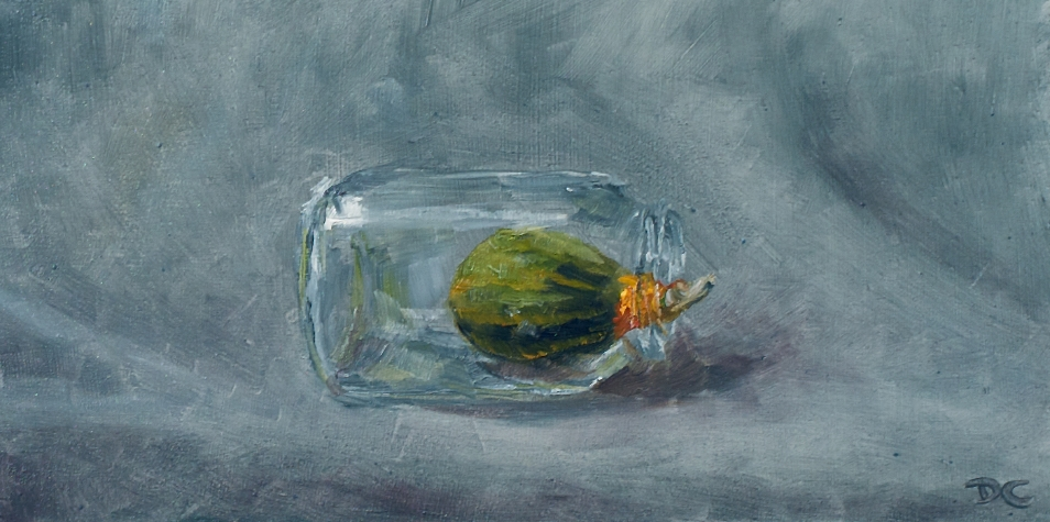 Gourd in a bottle. Oil on panel. Private collection.