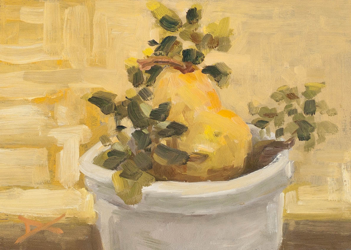 There is a pear in my potted coleus, oil on 5x7-inch maple panel. $100