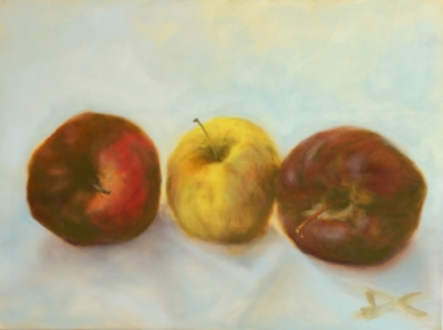 Apples. Oil on panel. Private Collection.