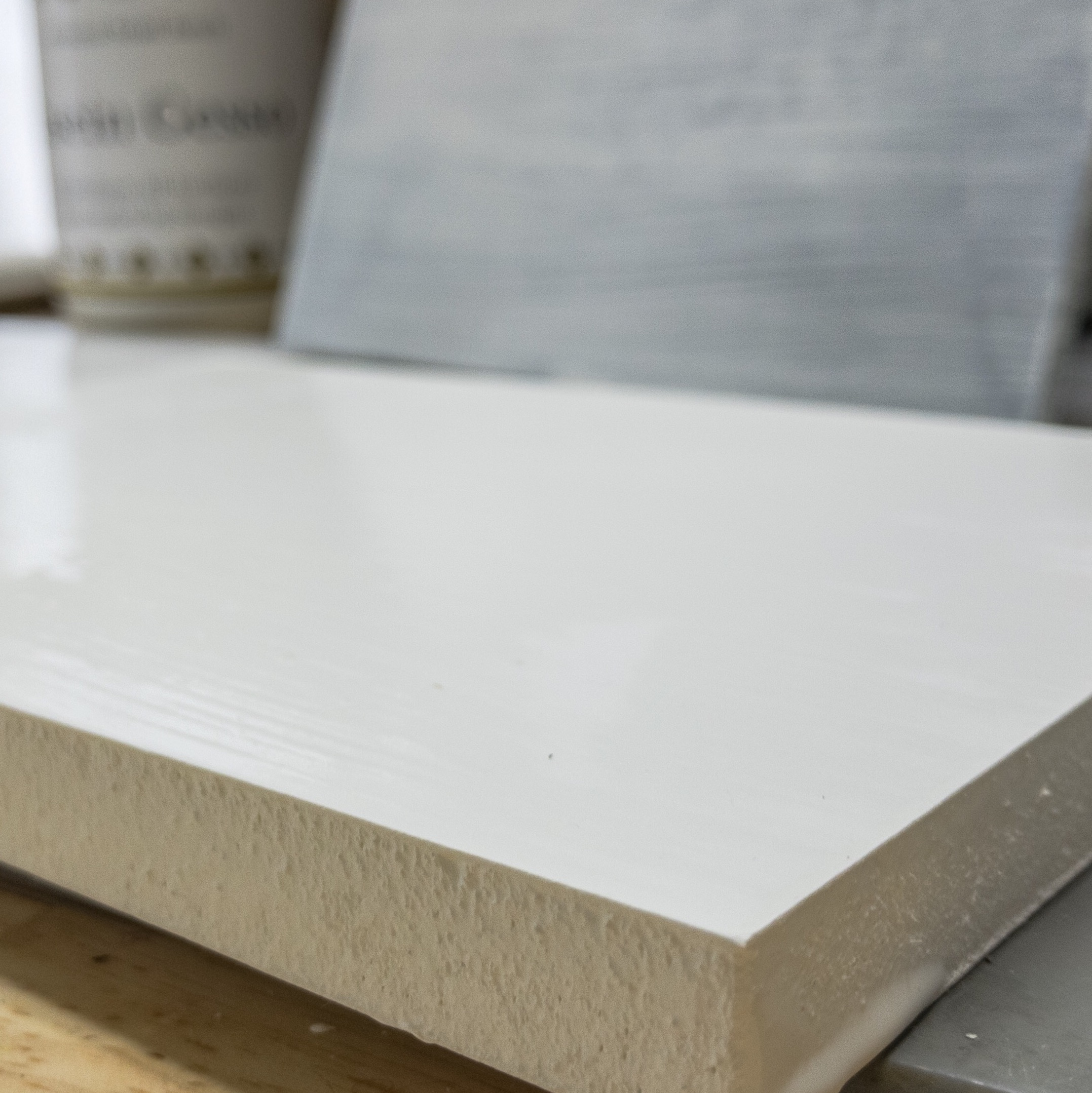 Foam edge treated with casein gesso as barrier to prevent direct contact with mineral spirit or turpentine. The foam will deteriorate if contact is made.