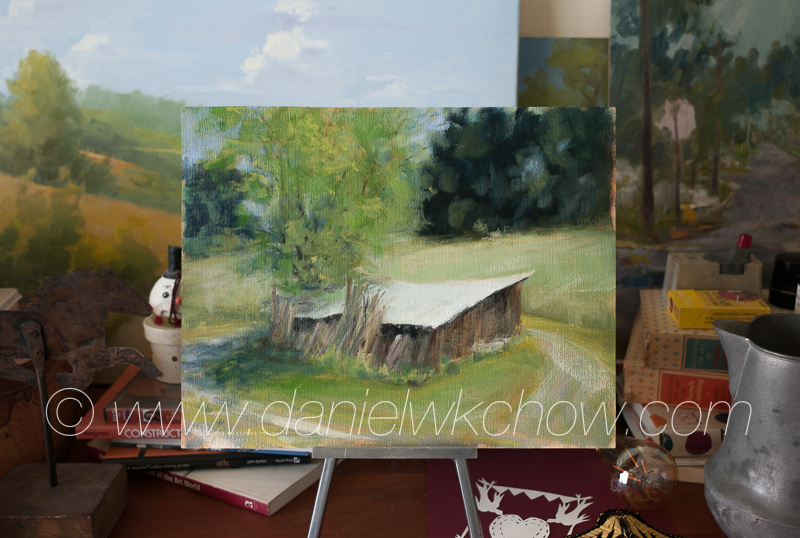 A study in progress: The Woodshed. Oil on panel, 11 by 14 inches