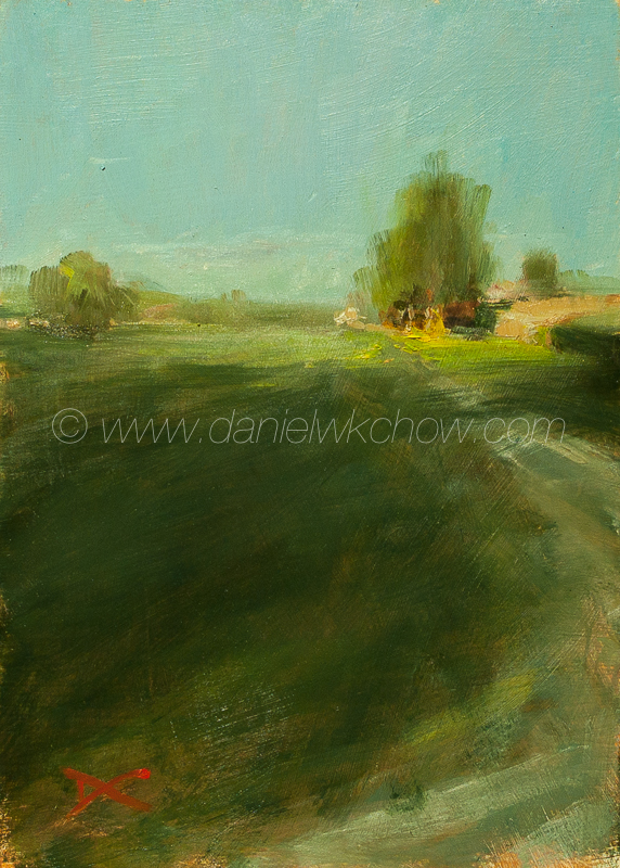 To Scarlett Thicket Farm. Chester County, Penna. Oil on panel, 7 by 5 inches. Sold.