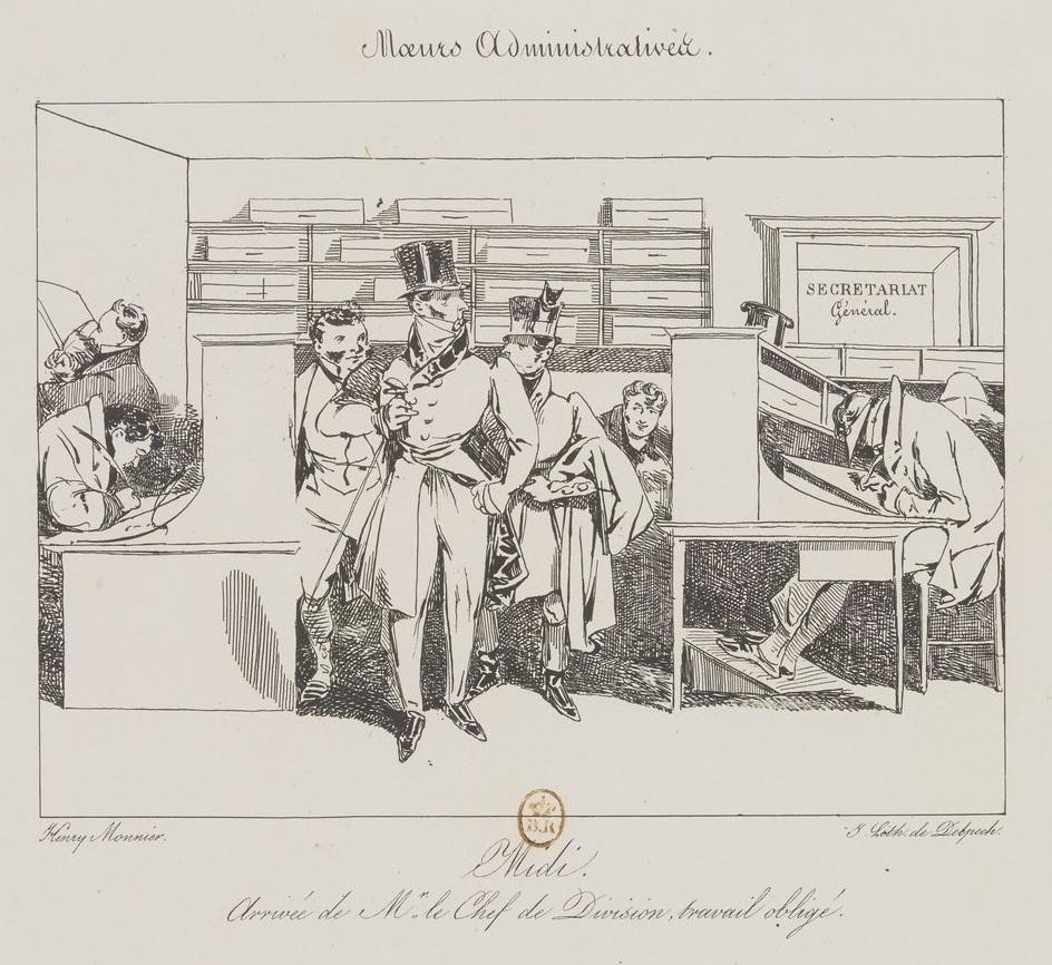 """source : gallica.bnf """"Midi, arrivée de Mr le Chef de Division, travail obligé"""""""