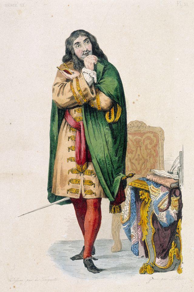 """Molière portait du vert sur scène, le jour de sa mort… La gravure provient du """"Plutarque Français"""" de Mennechet (1837), source : gettyimage"""