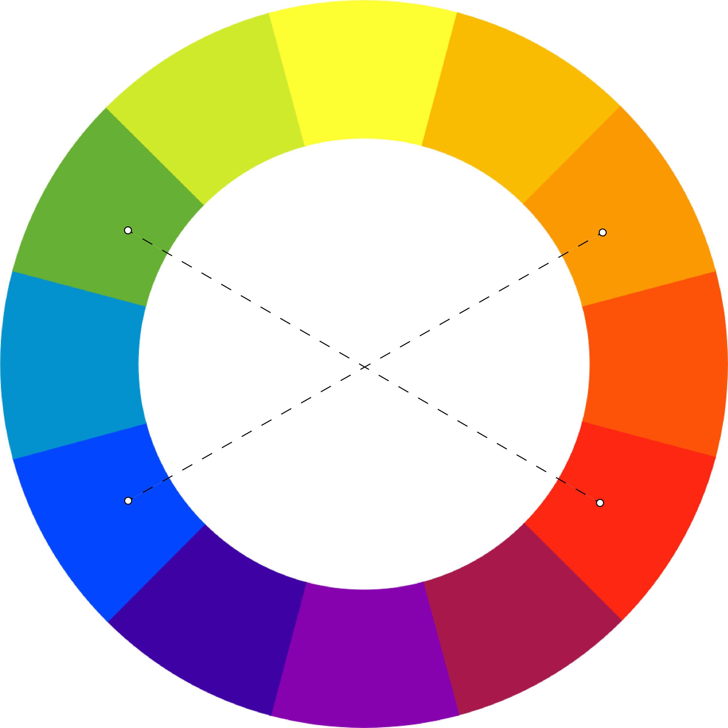 Roue chromatique des couleurs complémentaires : le bleu et le orange sont des couleurs complémentaires par exemple