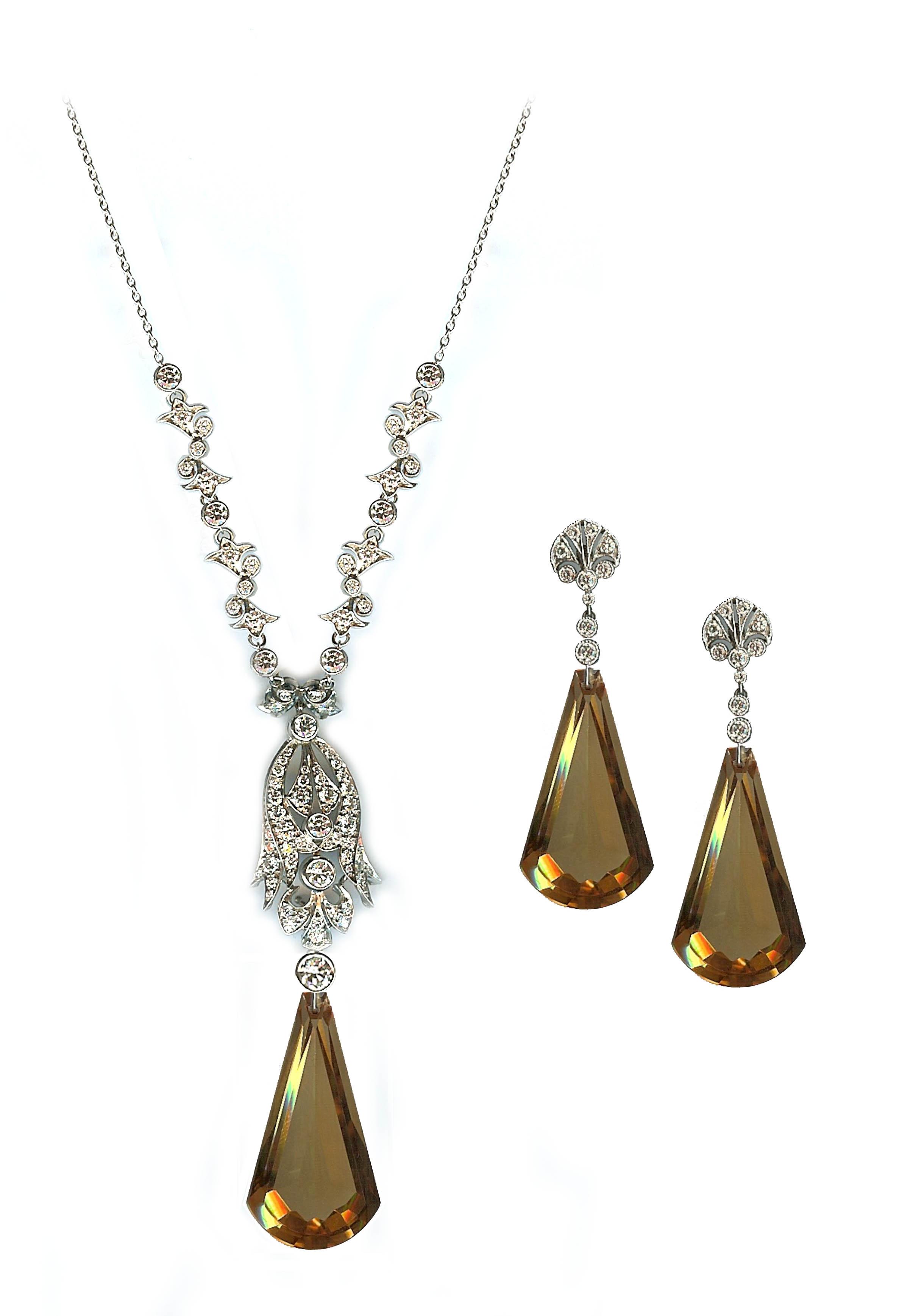Stunning diamond and citrine suite