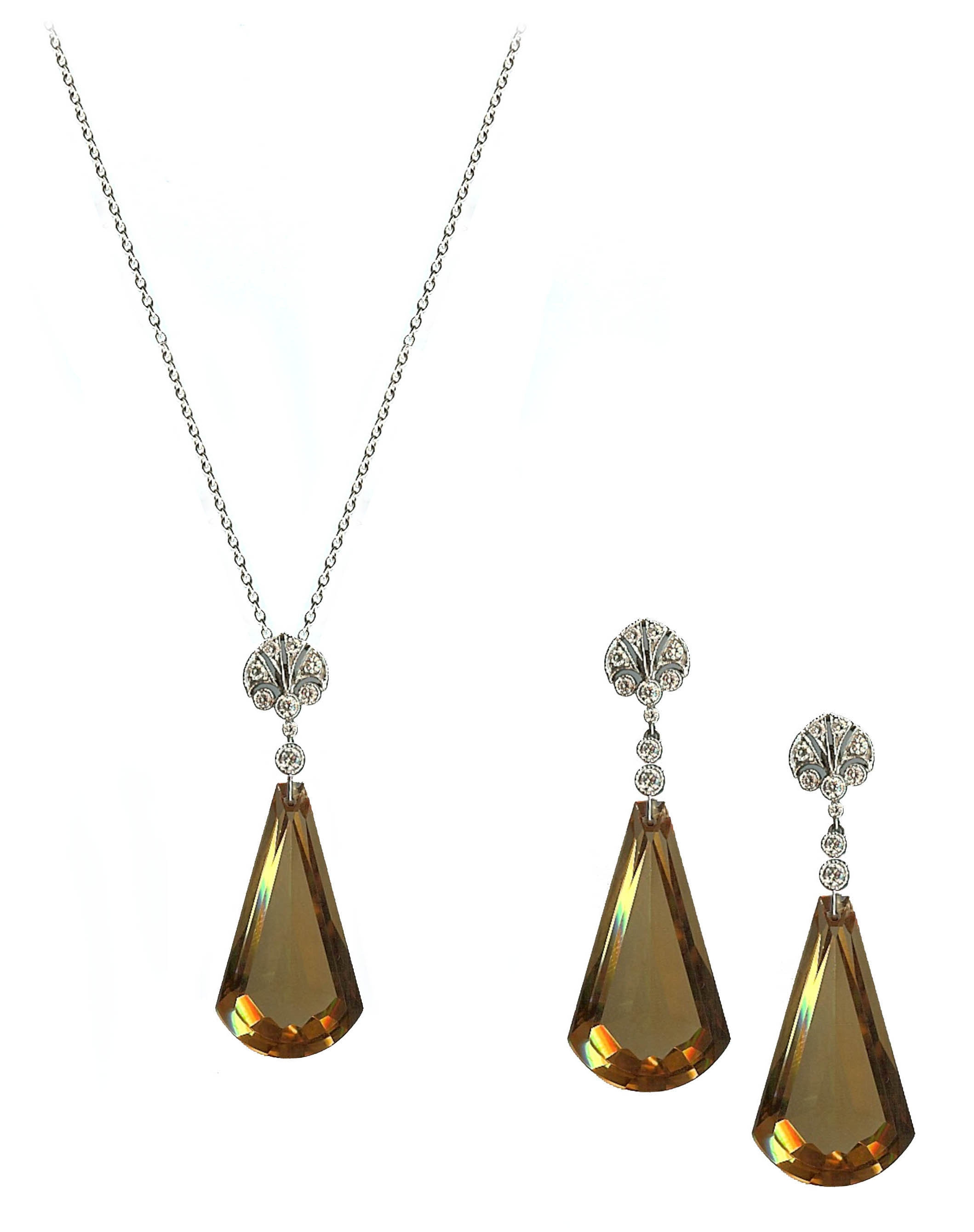 Citrine pendant and earrings