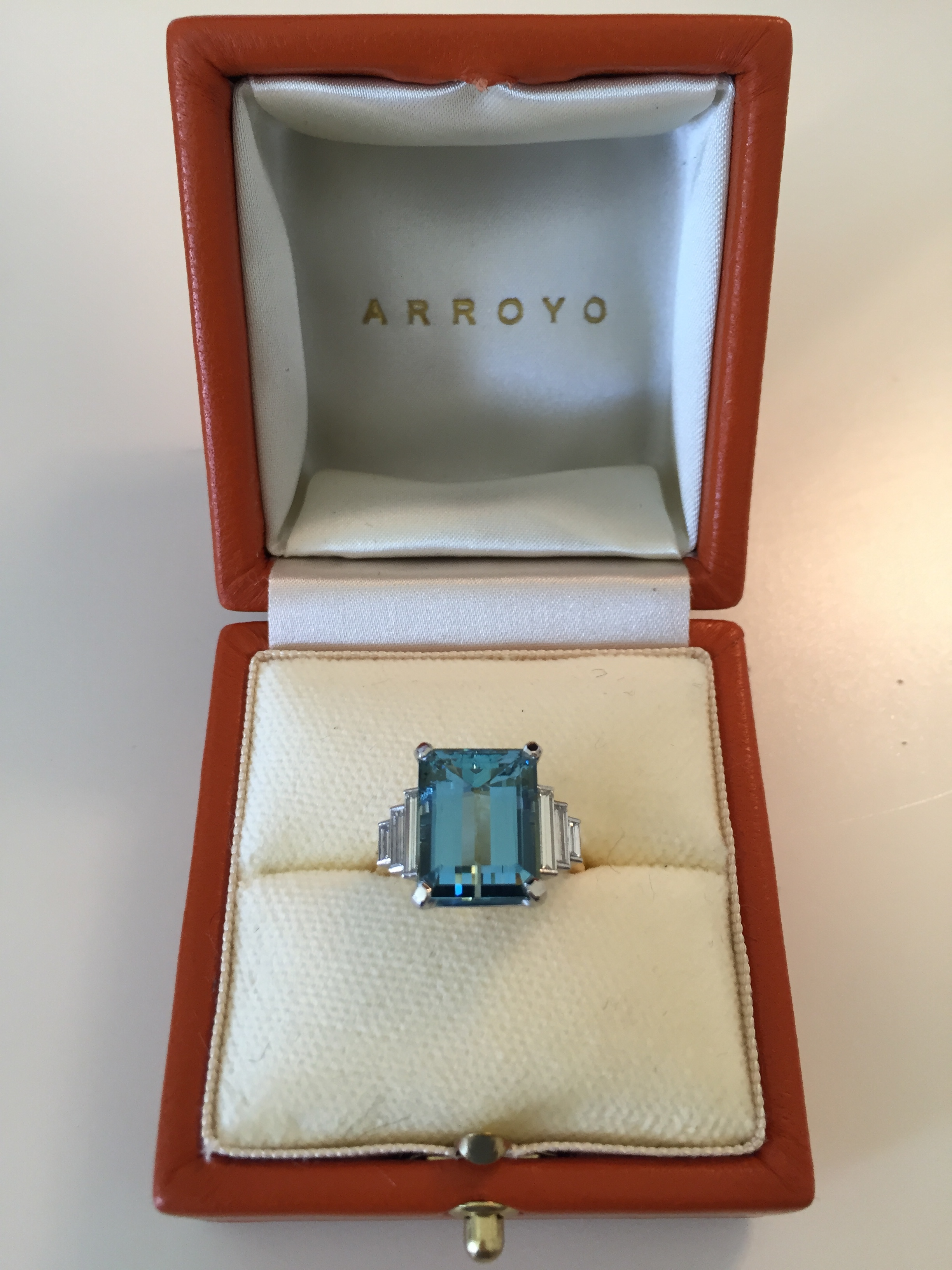 Aquamarine and baguette diamond ring for private client