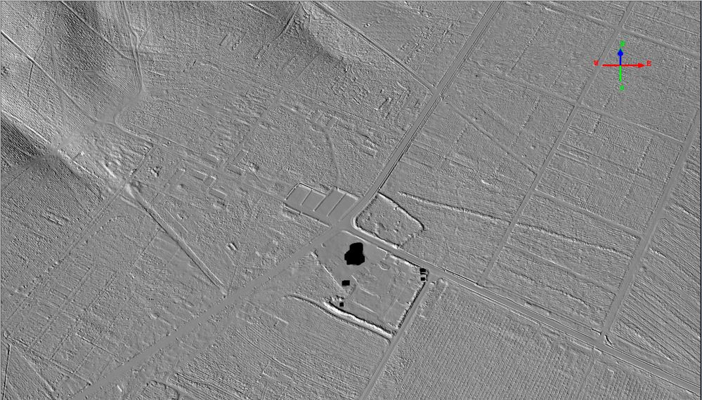 This is an image of a recent scan of Cannock Chase, showing the junction of Marquis Drive with Penkridge Bank Road. The black 'blob' is the Whitehouse building.