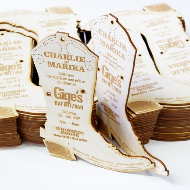 Those laser cut wooden wedding invitations were created as a Western style theme. Laser cut from 3mm plywood.