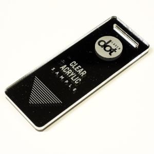 3mm clear acrylic - laser cut - laser engraved - Dot Laser sample.JPG