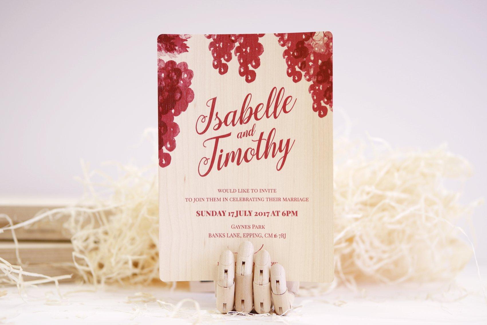 wooden invitation - laser cut - wedding - dot laser