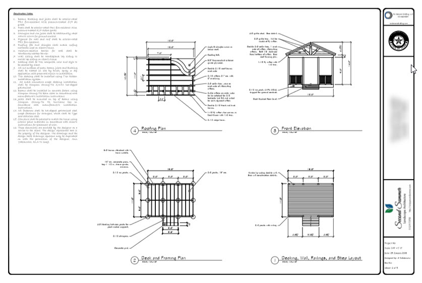 Construction drawings for outdoor structure