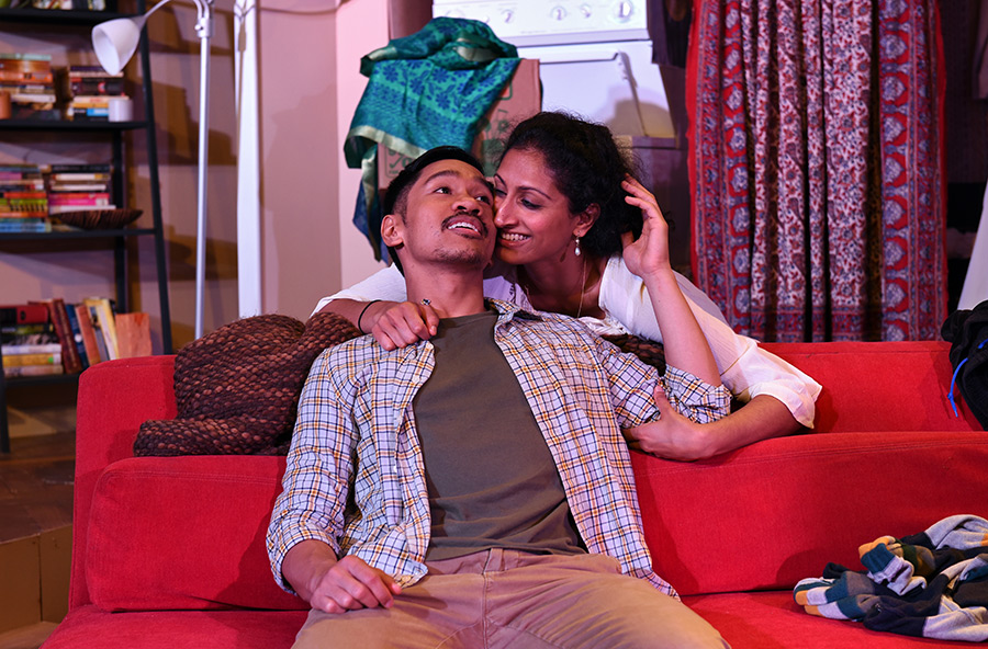 (L to R) Bryan Bosque as Michael and Rasika Ranganathan as Sonya in  Rasaka Theatre Company 's September/October 2015 production of Washer/Dryer in Chicago, IL. (Photo: Scott Dray)