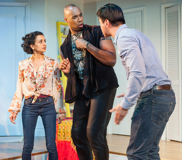 (L to R) Nandita Shenoy as Sonya, Jamyl Dobson as Sam, and Johnny Wu as Michael in  Ma-Yi Theater Company's  Off-Broadway production of WASHER/DRYER in New York, NY. Photo by  Isaiah Tanenbaum Theatrical Photography