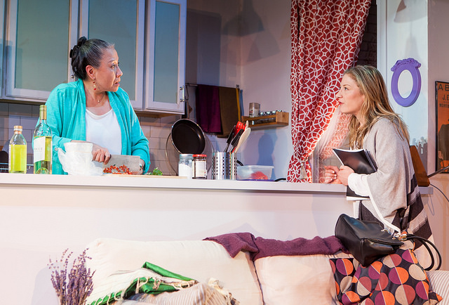 (L to R) Jade Wu as Dr. Lee and Annie McNamara as Wendee in  Ma-Yi Theater Company's  Off-Broadway production of WASHER/DRYER in New York, NY. Photo by  Isaiah Tanenbaum Theatrical Photography