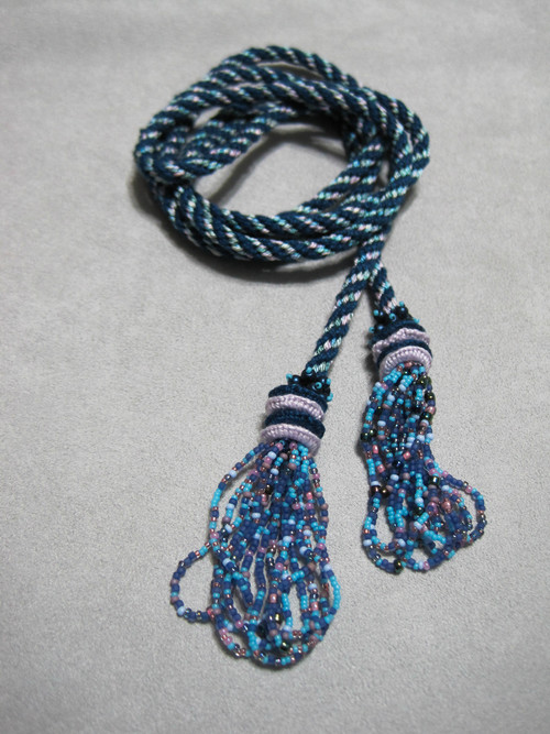 Cordelia Lariet   A great beginner kumihimo project.  Multiple colorways are available.  Skill level beginner.  Cost $25.00 plus supplies.  Required kit is $15.00.  Additional supplies are also required.