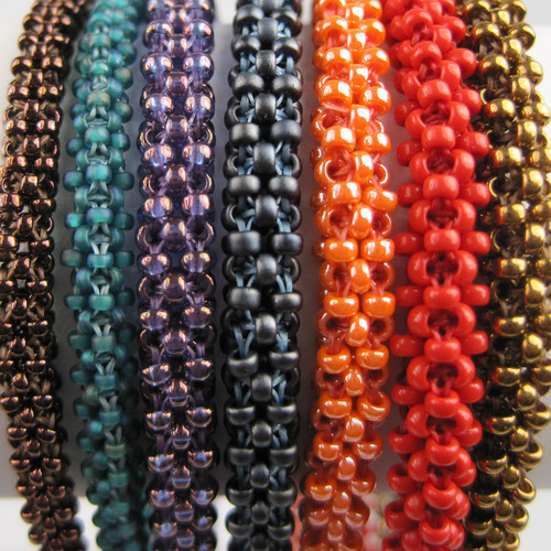 CRAW (Cubic Right Angle Weave) Basics   A very versatile stitch that will be used to make a roll on bracelet.  No clasp is required and you will want to make one in every color.  Skill level  Intermedite.  Cost $25.00 plus supplies.