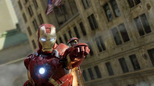Iron Man firing a tank missile at terrorists.