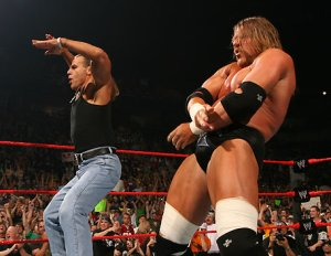WWF's Shawn Michaels and HHH and their iconic suggestion of oral sex.