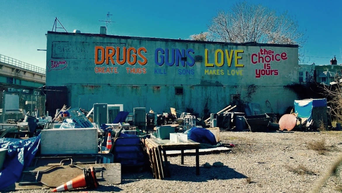 DRUGS create thugs. GUNS kill sons. LOVE makes love. The choice is yours.   by  ESPO . West Philly, Philadelphia, PA. Photo by  venusinorbit .