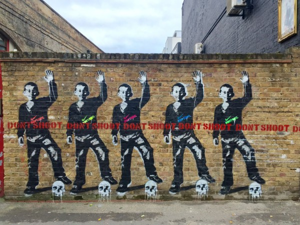 Don't Shoot ,  by Bambi in Shoreditch, East London. Photo courtesy of  Dream Deferred .