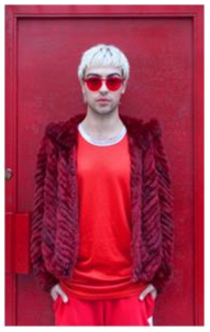 "Matthew in Red,  Aviva Klein    Metallic c-print, 11""x14"""
