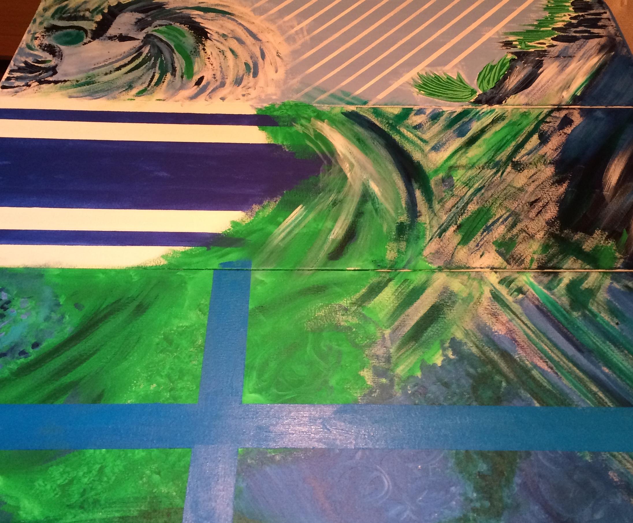 "Oceans, John Zisel    Acrylic on Canvas 36""x42"", 3 canvases 36""x12"" ea"