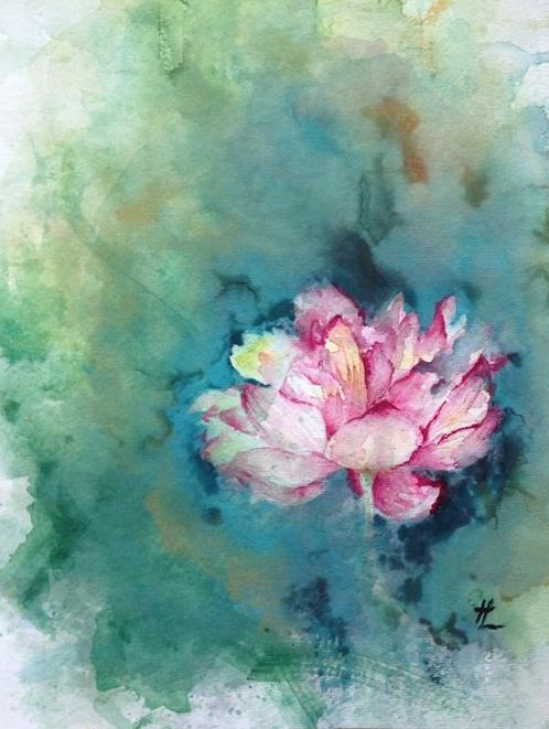 "Lotus,  Melissa Liu    Watercolor 16""x12.5"""