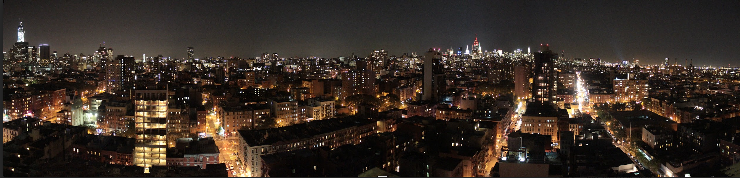 "Manhattan by Moonlight,   Jamel Mims    Digital Photography, 8""x32"""