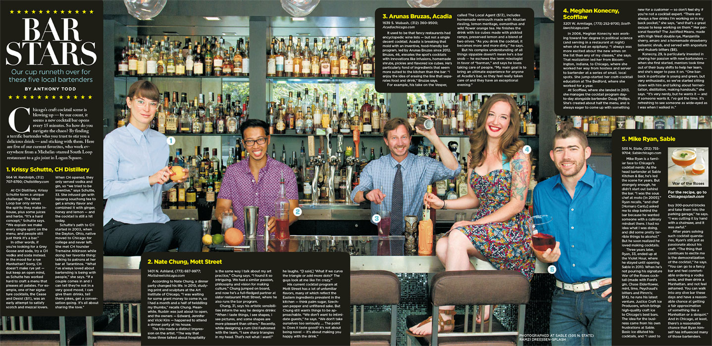 Bartending feature, shot for the Chicago Sun-Times' SPLASH lifestyle magazine