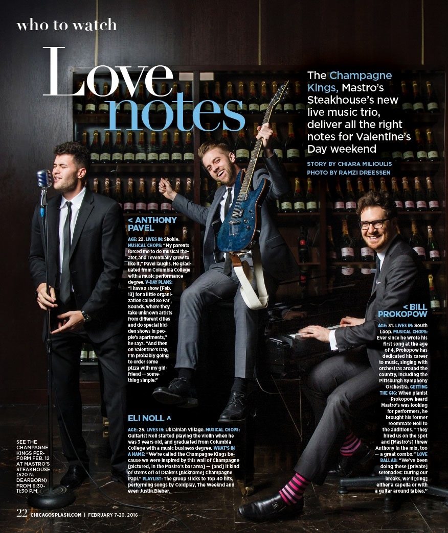The Champagne Kings, shot and designed for the Chicago Sun-Times' SPLASH lifestyle magazine