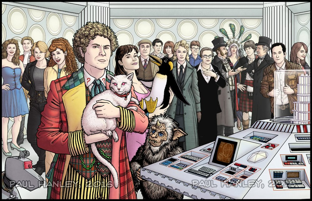 We've gone ahead and identified all of the Doctor's friends in the image above (illustrated by Paul James Hanley). From Right to Left: K9, Lady Face, Chip, Prosecutris (SVU crossover), Mel, Ghost Face Kitty, Peri, The Brigadier, Frobisher, Creepy Stan the Horn-Head man (bottom), Spanky, Misty, Curly McGee, Steve from IT, Old Lady Stitch-face, Jago, Donna Superstar, Jamie, Litefoot, Annoying Derek, and Side-Eye  The Sixth Doctor and friends by  @PaulJamesHanley