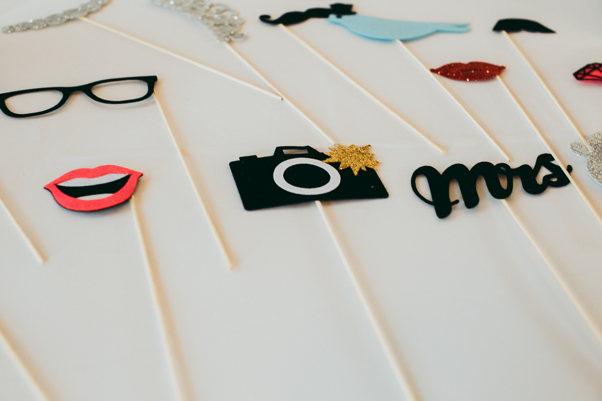 Photo booth props, including camera, mrs., red lips, black hipster glasses, blue bird, black moustache.
