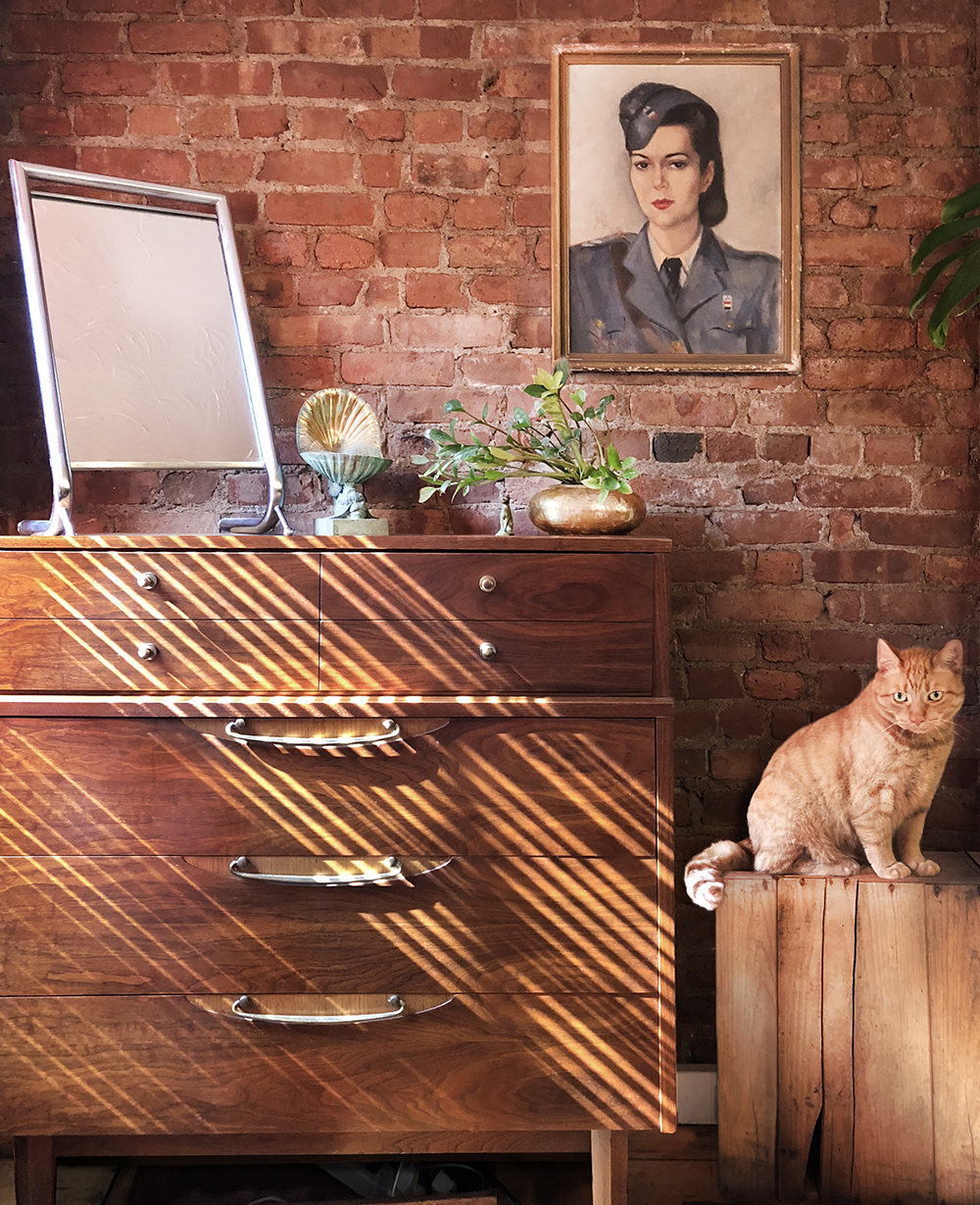 Vintage dresser (1950's), copper jewelry stand, brass pot and original painting by unknown artist. Found orange cat.