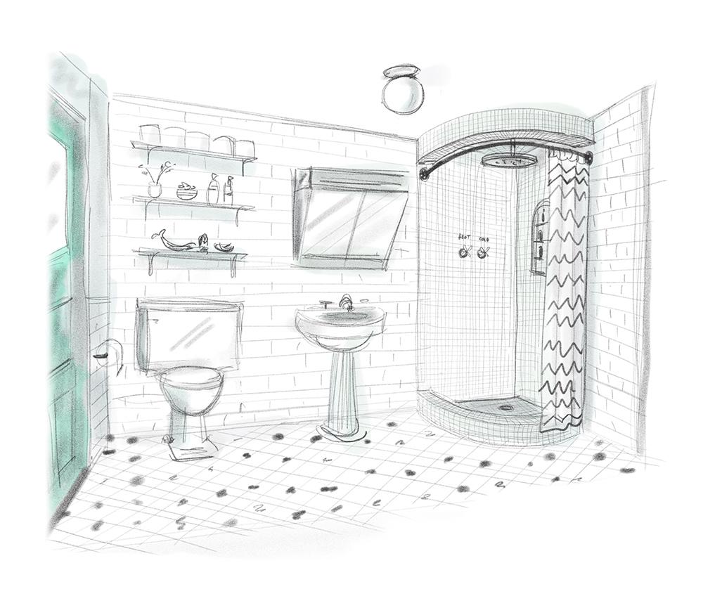 Sketch for bathroom design.