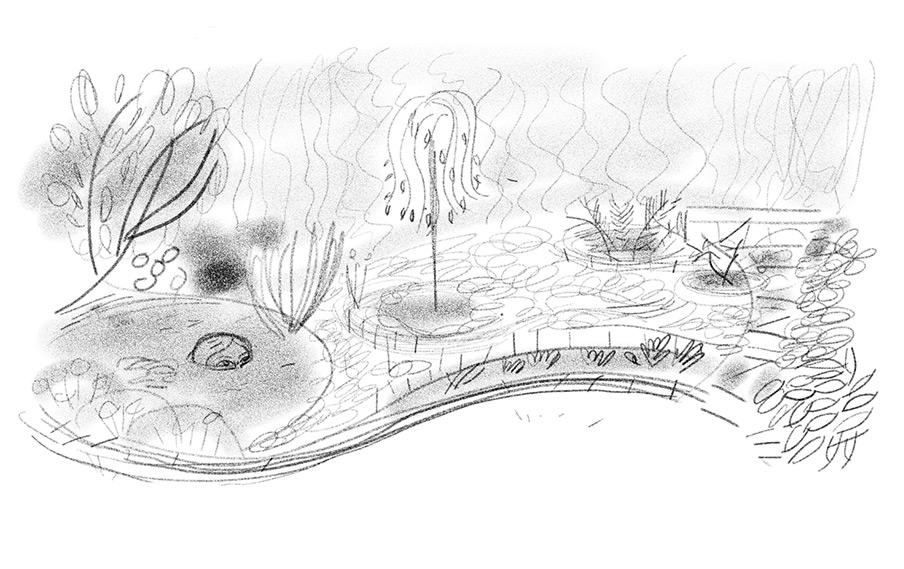 Sketch for garden design.
