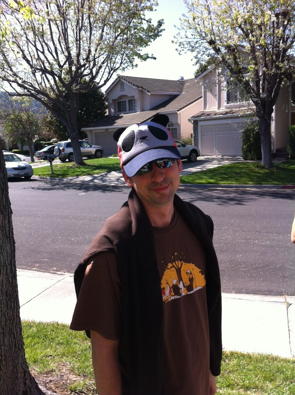 Bonus photo of the husband wearing the hat my mom lent to him for our afternoon hike.  Because, hats.  And pandas.