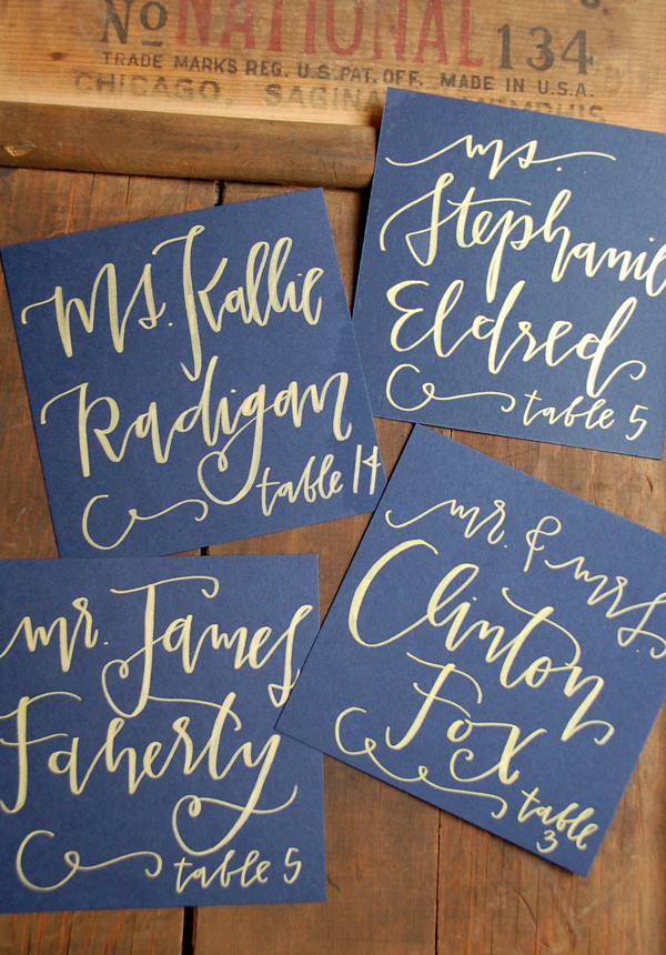 Lettered Life Place Card Wedding Calligraphy Navy & GOld.jpg