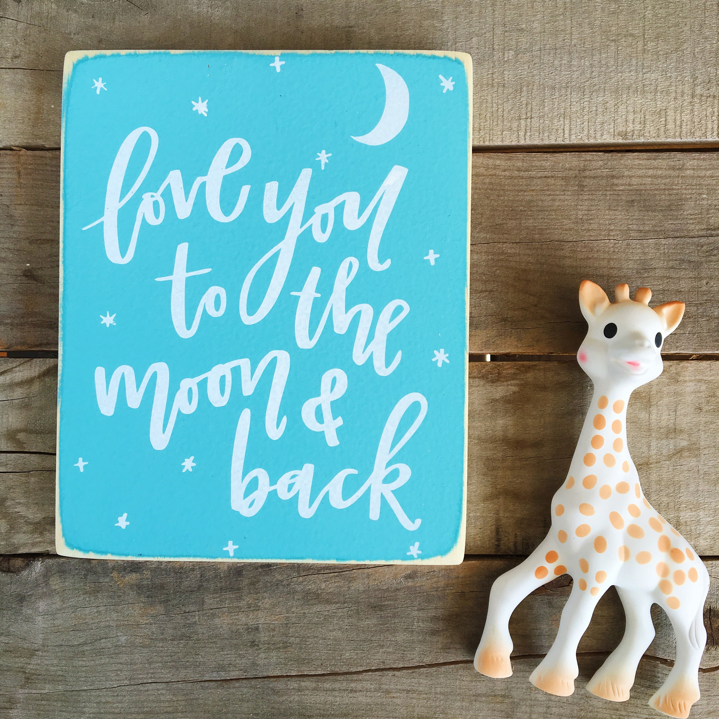 Love to the Moon & Back Wood Sign | Lettered Life
