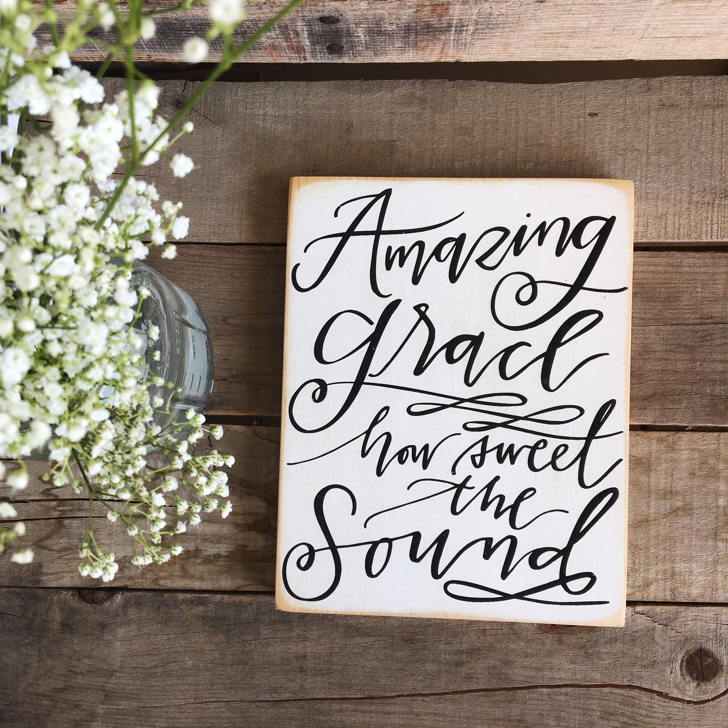 Amazing Grace Wood Sign | Lettered Life