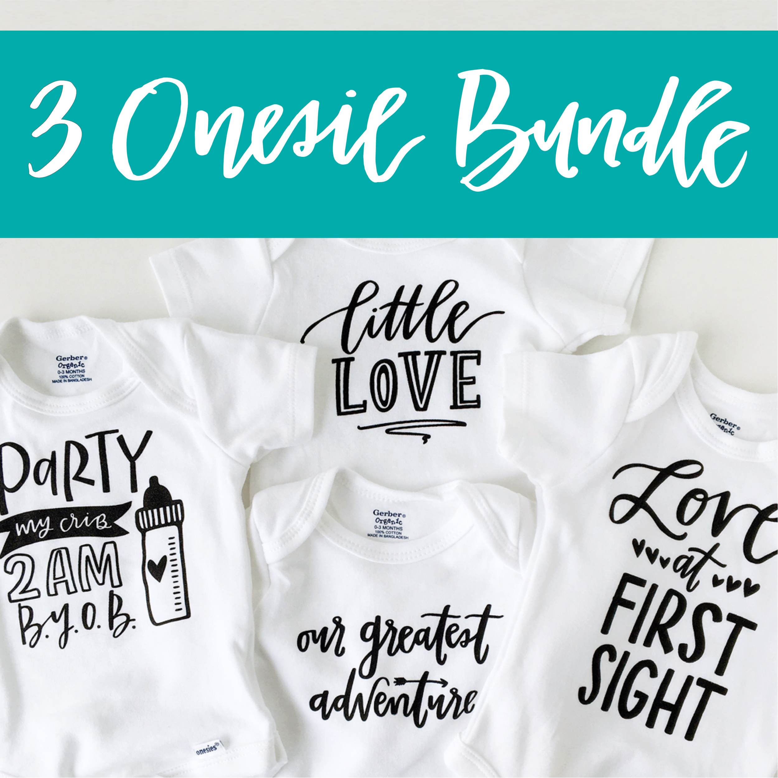3 Onesie Bundle by Lettered Life / Shower Gift / Baby Gift / Newborn / Newborn Onesie / Trendy Baby