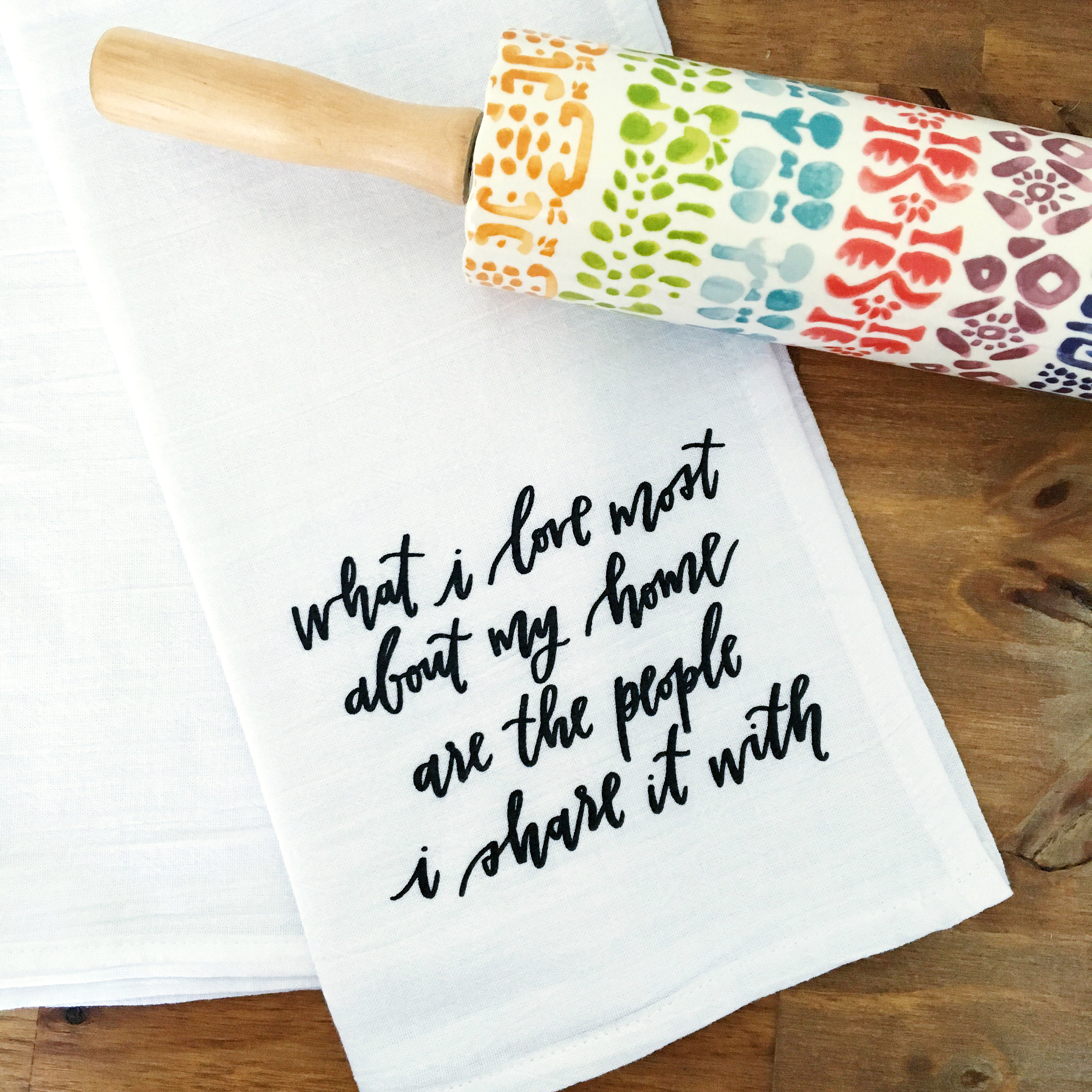 What I Love Most Dish Towel by Lettered Life / Tea Towel / Family / Gift for Her